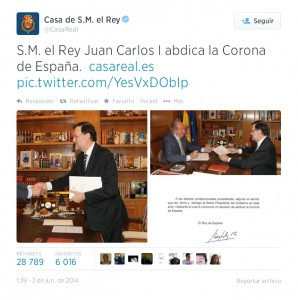 El tweet con el que la Casa del Rey difundió la noticia